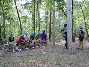 Photo: The 'Ground School' practice area for participants to practice using their equipment before getting on the High Ropes Course.