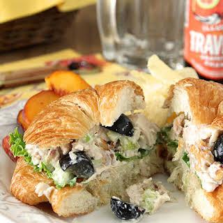 Gorgonzola Chicken Salad Sandwich with Grapes and Walnuts.