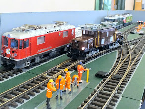 Photo: 014 The superb G scale Crocodile locomotive passing over the crossing at Roger Trim's very appropriately named layout: Crododile Crossing! .