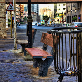 The Bench by Rodolfo Dela Cruz - City,  Street & Park  Street Scenes ( sign, bench, street, steel, trash basket )