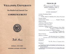 Photo: Villanova Commencement program, 1959.