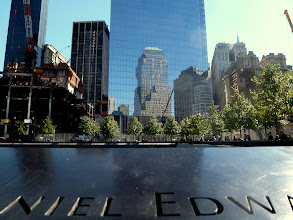 Photo: Old World Trade Center reflected by the new.