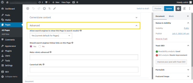 Screenshot of how to use a plugin to no-index a WordPress post