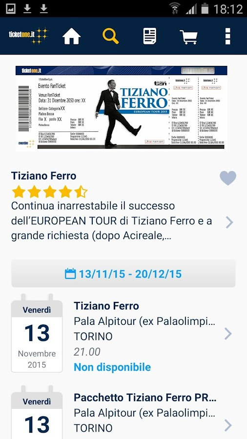 TicketOne.it- screenshot