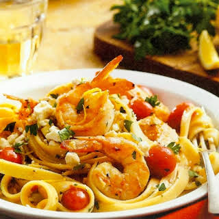 Shrimp And Scallop Fettuccine With Feta.