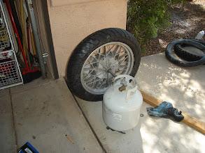 Photo: My ghetto rear wheel balance setup.