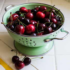 Fresh Cherries by Chris Seaton - Food & Drink Fruits & Vegetables ( red, cherries, fruit, strainer, kitchen,  )