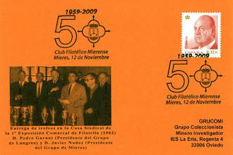 Photo: Tarjeta del matasellos de los 50 años del Grupo Filatélico de Mieres