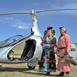 Old&new by Tsatsralt Erdenebileg - Transportation Helicopters ( couple, helicopter, cavalon, people, traditional costumes, nature photography )