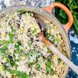 Baked Corn, Mushroom and Sausage Risotto