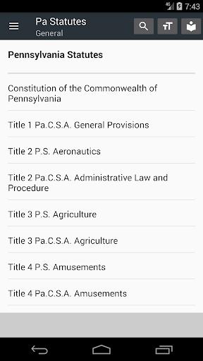 Pennsylvania Statutes 2018 (all free offline) 0.01 screenshots 1