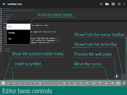 anWriter free HTML editor 10