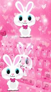 Cute Bunny Pink Rabbit Keyboard Theme - náhled