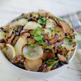 Shiitake and Eggplant Stir-Fry with Gingery Garlic Sauce.