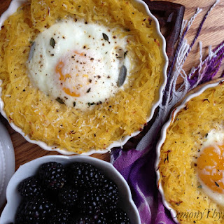 Eggs Baked in Herbed Spaghetti Squash Nests