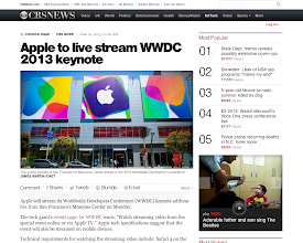 Photo: LINK: http://www.cbsnews.com/8301-205_162-57588467/apple-to-live-stream-wwdc-2013-keynote/