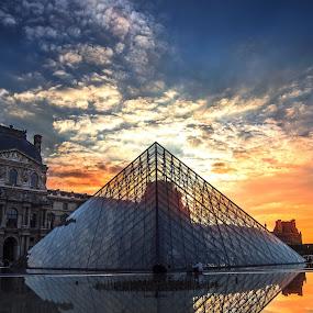 The Lourve by Nicholas  H - Travel Locations Landmarks ( landmark, famous, paris, famous landmarks, pyramids, lourve, travel,  )