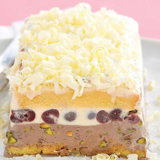 Cherry and Pistachio Ice Cream Cake.