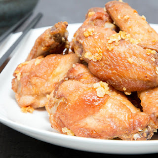 Crispy Oven Baked Garlic Chicken Wings.