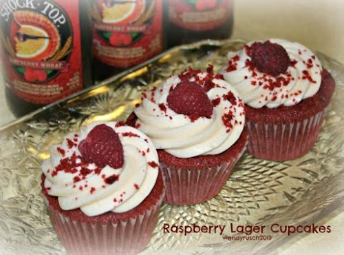 """Raspberry Lager Cupcakes """"It was absolutely delicious and it surprised me that..."""