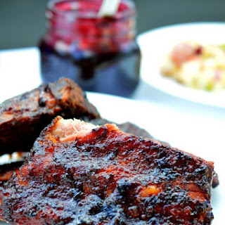 Grilled Ribs with Blueberry Barbecue Sauce.