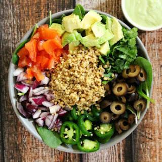 Vegan Taco Salad with Creamy Cilantro Lime Dressing (Raw, Vegan, Gluten-Free, Dairy-Free, Soy-Free, Paleo-Friendly).