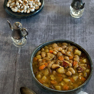 Slow Cooker Yellow Eyed Bean Soup For 2 with Veggie Variations