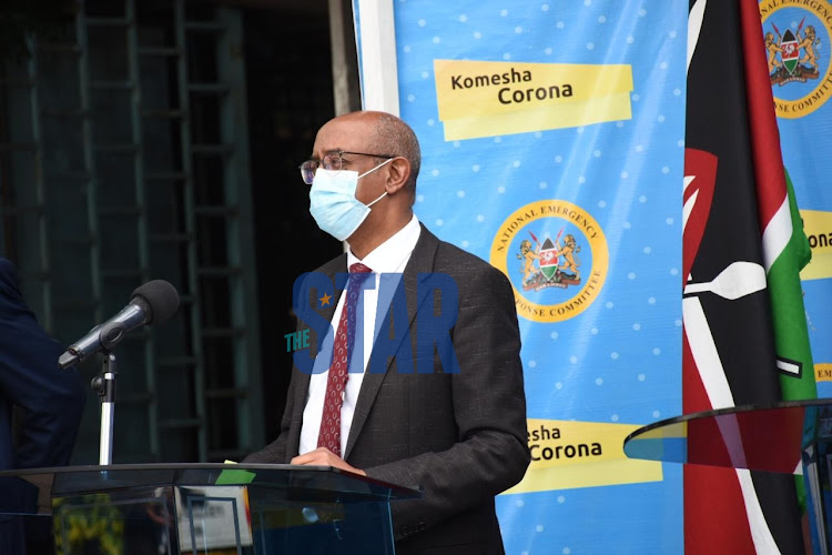 CAS Health Rashid Aman during a press conference on coronavirus pandemic update at Afya House on May 11, 2020.
