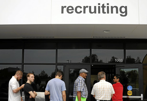 Job seekers line up to apply for jobs at Amazon in Fall River, Massachusetts, on August 2 2017. Picture: REUTERS