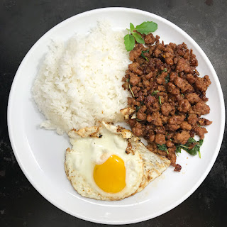 Pad Kra Pao Moo (Stir Fried Pork with Thai Holy Basil).