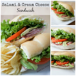 Salami & Cream Cheese Sandwich.