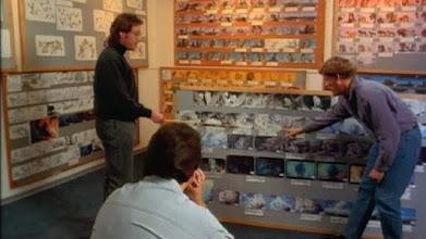 """Photo: Os diretoresRoger Allers e Rob Minkoff vendendo a ideia de """"O Rei Leão"""" com o uso de storyboards."""