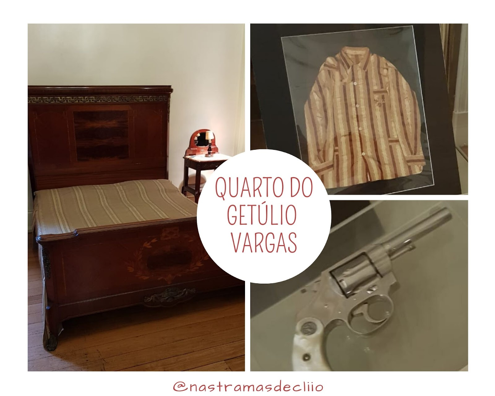 Fotografias do quarto de Getúlio Vargas no Palácio do Catete.