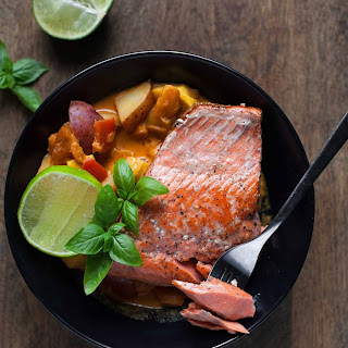 Seared Salmon with Red Curry Vegetables.