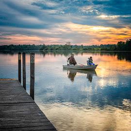 Early Morning Anglers by Laura Simonsen Braun - People Street & Candids ( summer, fishing, sunrise,  )