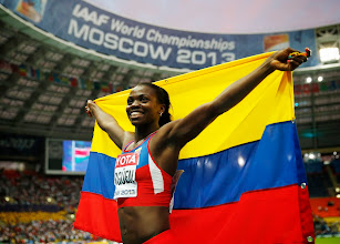 Photo: Colombia's Caterine Ibarguen celebrates winning the gold in the women's triple jump final at the World Athletics Championships in the Luzhniki stadium in Moscow, Russia, Thursday, Aug. 15, 2013. (AP Photo/Matt Dunham) Russia Athletics Worlds