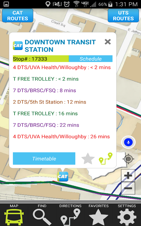 Charlottesville Area Transit- screenshot