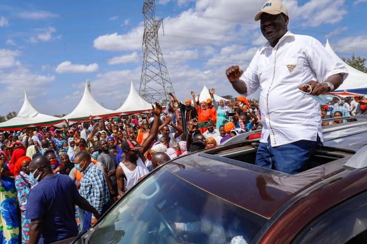 ODM leader RAila Odinga furing a tour of Kwale county on March 5, 2021.