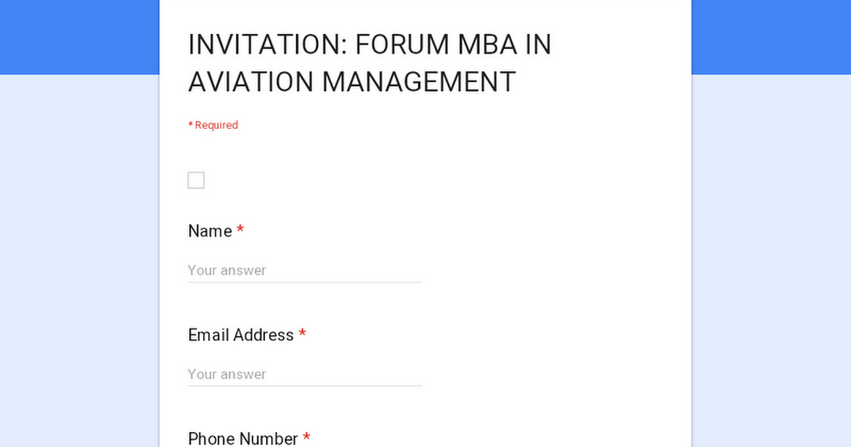 INVITATION: FORUM MBA IN AVIATION MANAGEMENT
