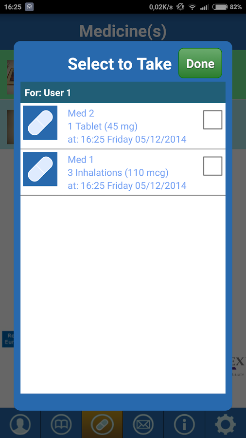 CF MedCare Reminder App- screenshot