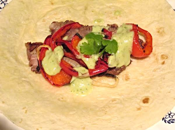 Steak Fajitas With Green Sauce Recipe