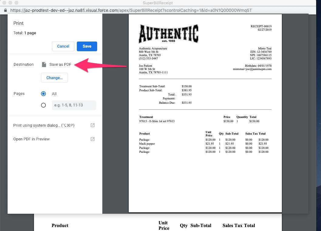 Save receipt/Superbill as PDF – Customer Feedback for