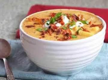 Loaded Baked Potato Crockpot Soup: