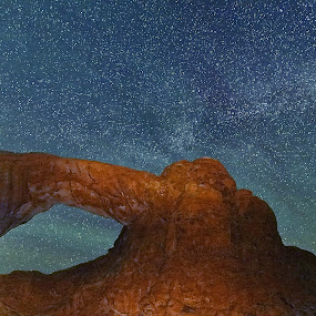 A wIndow to the stars by Mike Lennett - Landscapes Caves & Formations ( light paint, moab, national park, sky, arch, utah, stars, arches, night, rock, hole in rock, mike lennett )