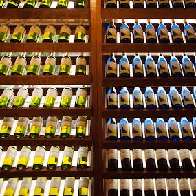 Wine in Line by Bob Stafford - Artistic Objects Glass ( wine winery bottles bottle display backlight )