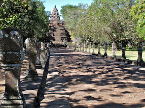 Photo: avenue leading to steps ascending to the hilltop Prasat Hin Phanom Rung