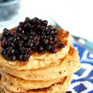 Dairy Free Multigrain Pancakes with Blueberry Sauce.