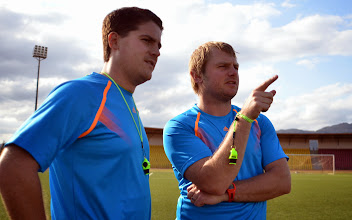 Photo: Coach McKinstry and assistant Tom Harris [Training Camp ahead of Leone Stars v Swaziland May 2014 (Pic: Darren McKinstry)]