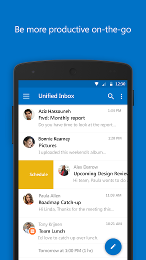Screenshot 0 for Outlook Mail's Android app'