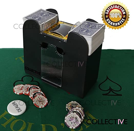 VIZIONSTAR Deluxe Poker 6-Deck Automatic Card Shuffler Casino Poker Texas Hold'em Black Jack Uno Bridge Playing Card Shuffling 6 Decks Chip Clay New
